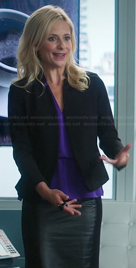 Sydney's black leather pencil skirt, purple blouse and black leather collar blazer on The Crazy Ones