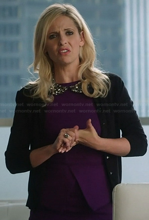 Sydney's purple peplum dress and encrusted peter pan collar necklace on The Crazy Ones