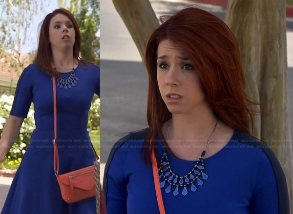 Tamara's blue colorblocked skater dress on Awkward