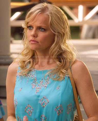Tansy's turquoise embroidered dress on Hart of Dixie