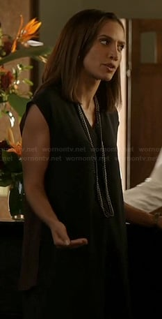 Tess's black tshirt dress with burgundy back on Beauty and the Beast