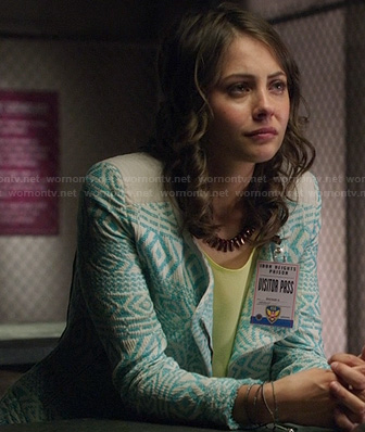 Thea's blue embroidered tribal jacket on Arrow