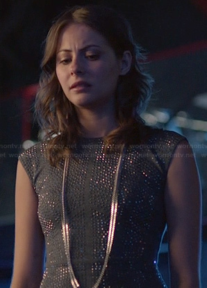 Thea's grey rhinestone studded dress on Arrow