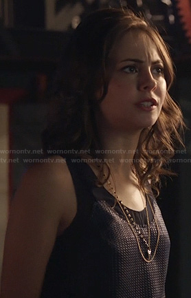 Thea's navy and mesh tank top on Arrow