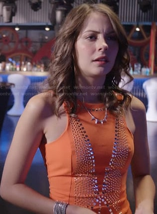 Thea's orange studded bodycon dress on Arrow