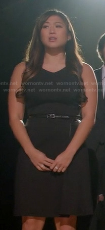 Tina's black v-neck dress with leather waist on Glee