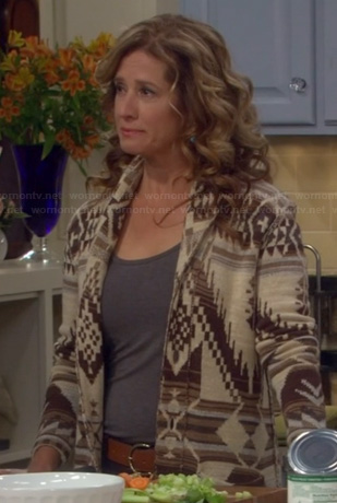 Vanessa's brown aztec pattern cardigan on Last Man Standing