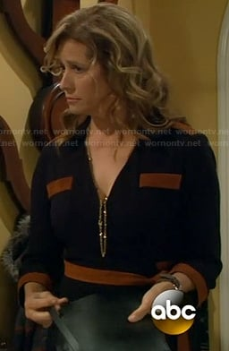 Vanessa's black dress with tan suede trim on Last Man Standing