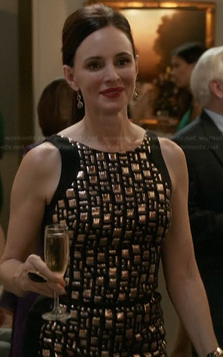 Victoria's black jewel studded dress on Revenge