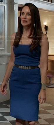 Victoria's royal blue square neck dress on Revenge