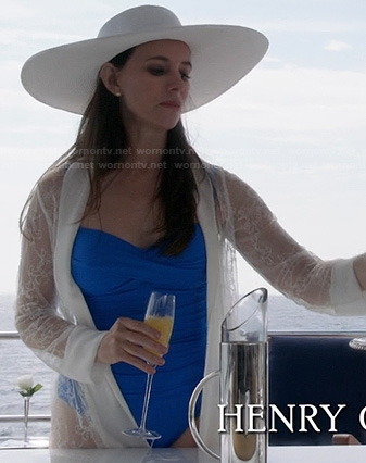 Victoria's blue swimsuit and lace cover-up on Revenge