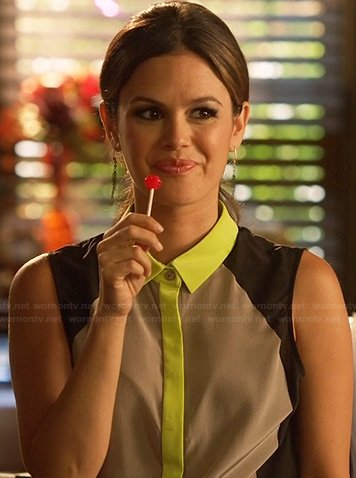 Zoe's grey top with neon yellow collar and trim on Hart of Dixie
