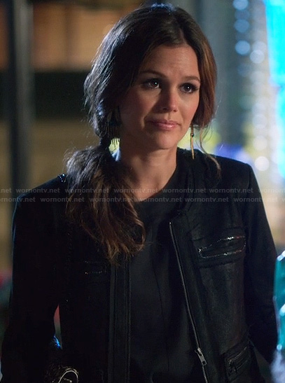 Zoe's black leather jacket with rhinestones on Hart of Dixie