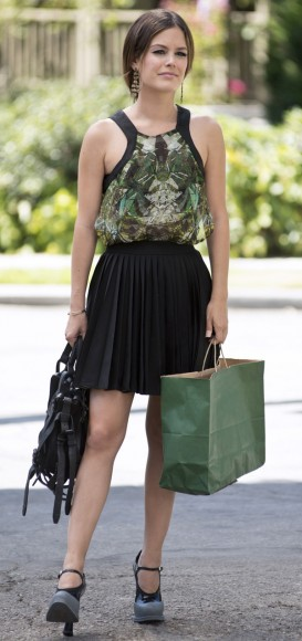 Rachel Bilson's green and black trim top on Hart of Dixie