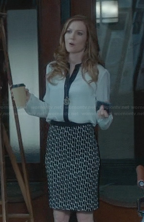 Abby's printed skirt and contrast placket blouse on Scandal