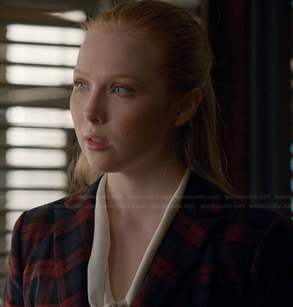 Alexis's navy and red plaid blazer on Castle