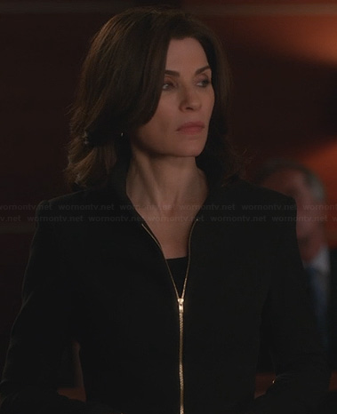 Alicia's black and gold zip front jacket on The Good Wife