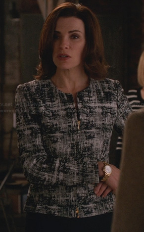 Alicia's black and white printed zip front jacket on The Good Wife