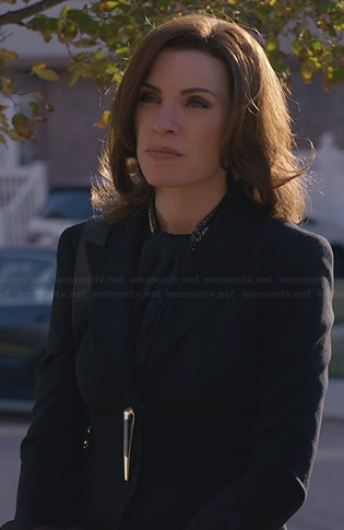 Alicia's gold toggle blazer on The Good Wife