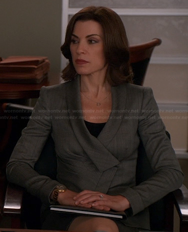 Alicia's grey crossover style jacket on The Good Wife