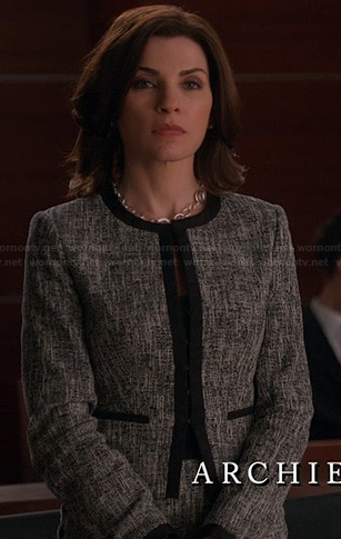 Alicia's grey jacket with black trim on The Good Wife
