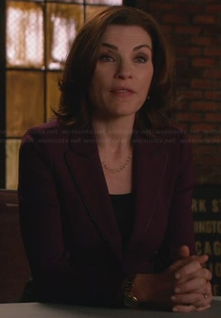 Alicia's purple blazer with leather trim and panels on The Good Wife
