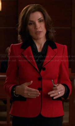 Alicia's red blazer with black trim on The Good Wife