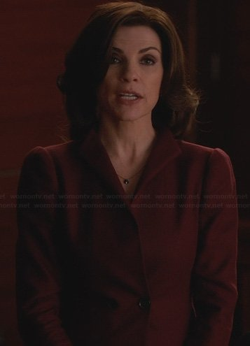 Alicia's red double breasted blazer on The Good Wife