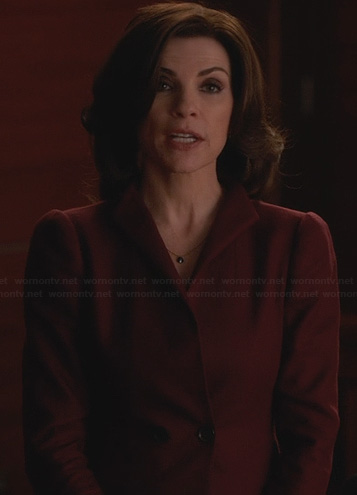 Alicia's burgundy double breasted blazer on The Good Wife
