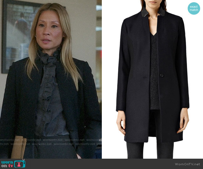All Saints Vita Coat worn by Joan Watson (Lucy Liu) on Elementary
