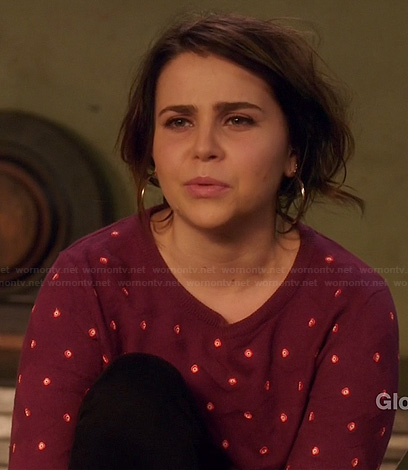 Amber's burgundy polka dot sweater on Parenthood