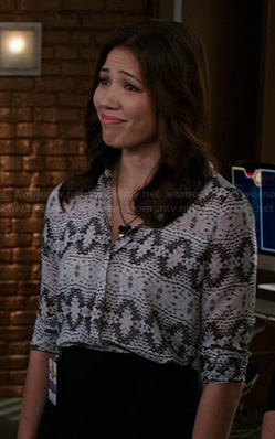 Angela's white and grey printed blouse on Bones