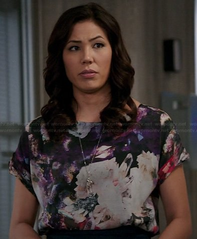 Angela's purple abstract graphic blouse on Bones