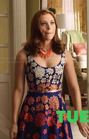 AnnaBeth's blue and orange floral dress on Hart of Dixie