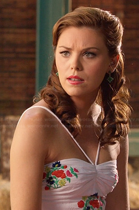 AnnaBeth's white floral embroidered halterneck dress on Hart of Dixie