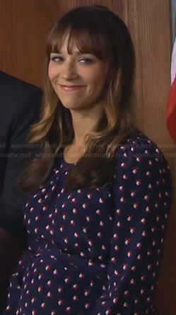 Ann's blue and red floral long sleeve maternity dress on Parks & Rec