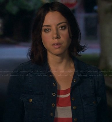 April's blue denim jacket and pink striped top on Parks and Recreation