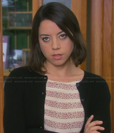 April's speckled dot and stripe print top on Parks and Recreation