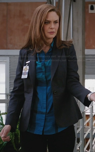 Brennan's blue ruched front checked shirt on Bones