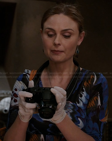 Brennan's blue and yellow print dress on Bones
