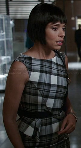 Camille's black and white check print peplum dress on Bones