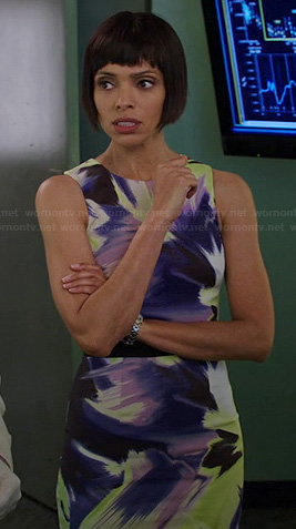 Camille's purple and yellow floral dress on Bones