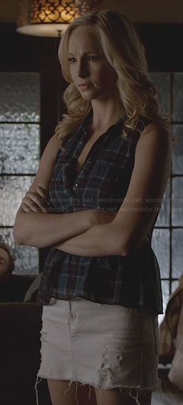 Caroline's plaid peplum top and white denim skirt on The Vampire Diaries