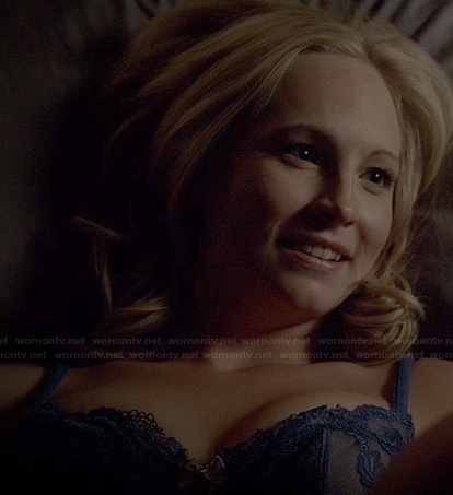 Caroline's blue lace bra on The Vampire Diaries