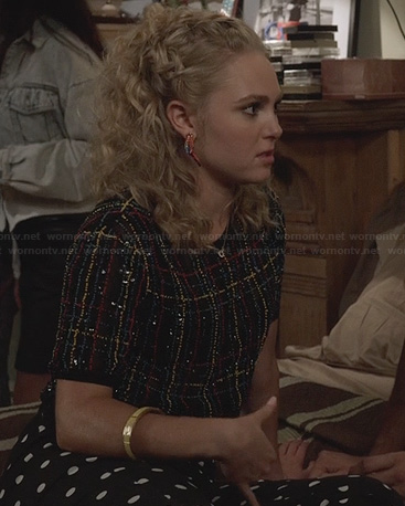 Carrie's black sequin and beaded top and polka dot pants on The Carrie Diaries