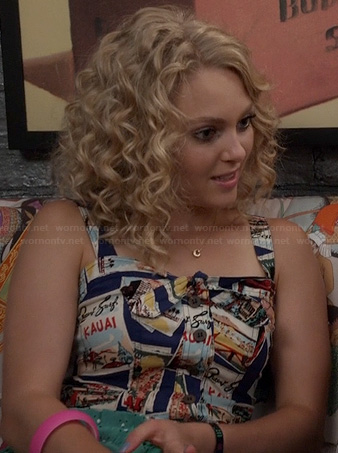 Carrie's pink and blue sequin-striped top and polka dot jeans on The Carrie Diaries