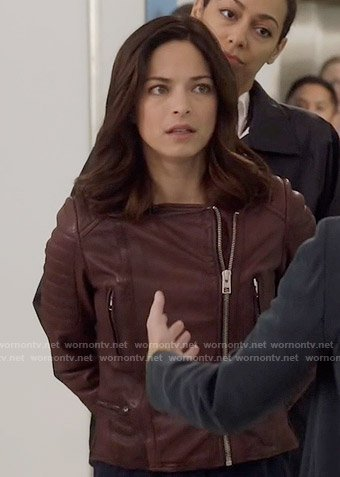 Cat's burgundy leather jacket on Beauty and the Beast