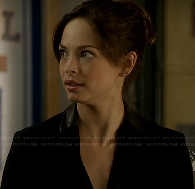 Cat's black leather lapel blazer on BATB