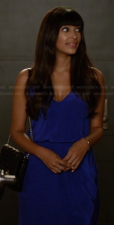 Cece's blue cinched waist dress on New Girl