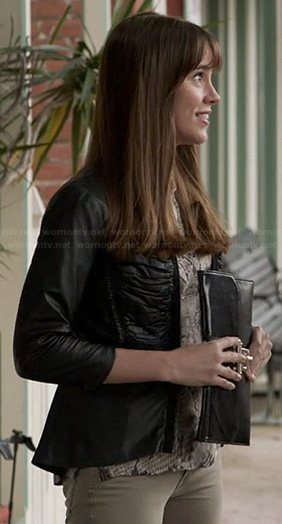 Charlotte's leather pleated peplum jacket on Revenge